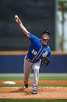 Biloxi Shuckers pitcher Brooks Hall (20) delivers a pitch during the first game of a double header against the Pensacola Blue Wahoos on April 26, 2015 at Pensacola Bayfront Stadium in Pensacola, Florida.  Biloxi defeated Pensacola 2-1.  (Mike Janes/Four Seam Images)