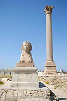 Pompey's Pillar and Sphinx in Alexandria Serapeum, Egypt