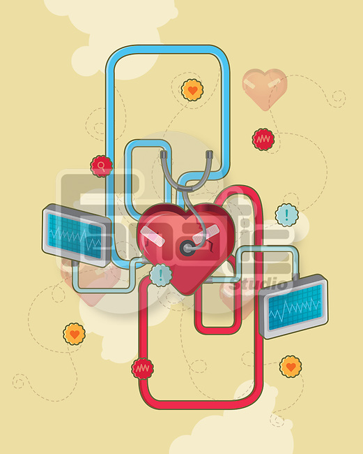 Heart connected with pulse trace screen depicting cardiology