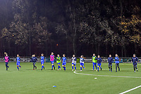 Warming up KRC Genk pictured before a female soccer game between  Racing Genk Ladies and Club Brugge YLA on the 10 th matchday of the 2020 - 2021 season of Belgian Scooore Womens Super League , friday 18 th of December 2020  in Genk , Belgium . PHOTO SPORTPIX.BE | SPP | STIJN AUDOOREN