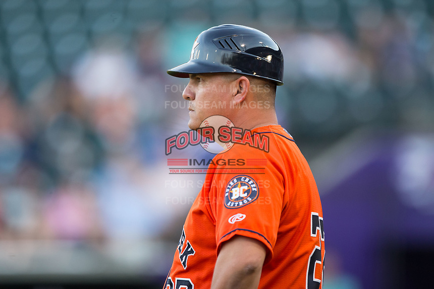 Buies Creek Astros manager Omar Lopez coaches third base during the game against the Winston-Salem Dash at BB&T Ballpark on April 15, 2017 in Winston-Salem, North Carolina.  The Astros defeated the Dash 13-6.  (Brian Westerholt/Four Seam Images)