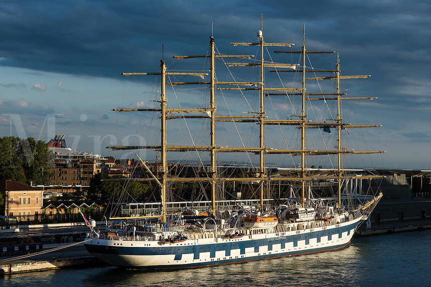 Star Clipper tall ship cruise docked in Venice, Italy