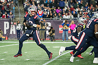FOXBORO, MA - OCTOBER 10: New England Patriots Quarterback Tom Brady (12) prepares for a long pass during a game between New York Giants and New England Patriots at Gillettes on October 10, 2019 in Foxboro, Massachusetts.