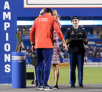 FRISCO, TX - MARCH 11: USWNT Head Coach, Vlatko Andonovski  receives his medal during a game between Japan and USWNT at Toyota Stadium on March 11, 2020 in Frisco, Texas.