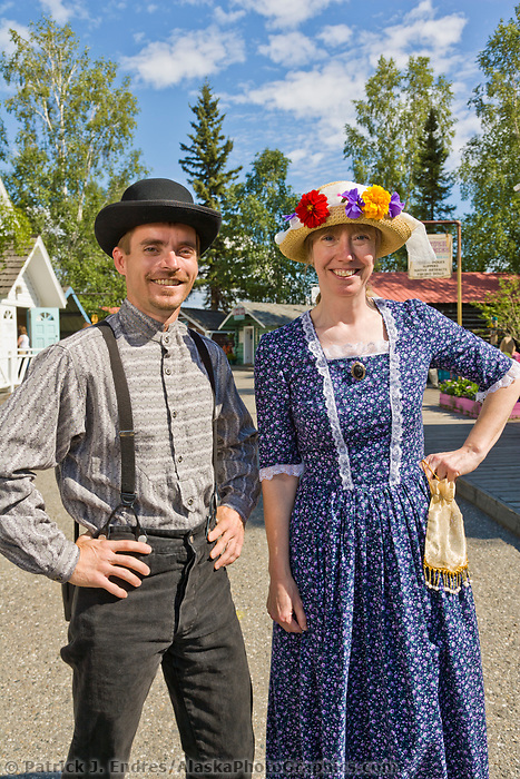 Michael Cox and Barbara Stetson in period dress at the Historic Pioneer Park in Fairbanks, Alaska.