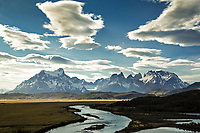 The Cuernos and Torres del Paine along the Serrano River in summer inside the Torres del Paine national park, Puerto Natales, Patagonia, Chile