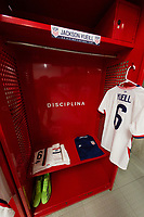 ZAPOPAN, MEXICO - MARCH 21: Jersey of Jackson Yueill #6 of the United States before a game between Dominican Republic and USMNT U-23 at Estadio Akron on March 21, 2021 in Zapopan, Mexico.