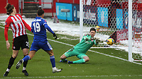 Brentford goalkeeper, Luke Daniels, makes a fine save during Brentford vs Leicester City, Emirates FA Cup Football at the Brentford Community Stadium on 24th January 2021