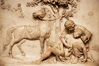Detail of a bas relief carving from Bath Abbey.