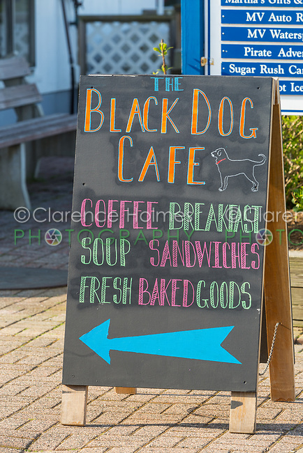 A sign points customers to the Black Dog Cafe in the Dockside Waterfront Marketplace on Oak Bluffs marina on Martha's Vineyard.