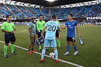 SAN JOSE, CA - AUGUST 17: Wil Trapp #20 of Minnesota United and Shea Salinas #6 of the San Jose Earthquakes during the coin toss before a game between Minnesota United FC and San Jose Earthquakes at PayPal Park on August 17, 2021 in San Jose, California.