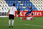 FW Vineeth (VINEETH) of SW Bengaluru FC (India) tackled hard during match AFCCQF1 – AFC Cup 2016 Quarter Finals<br /> JSWBENGALURUFC(IND) – JSW Bengaluru FC (India)<br /> vs<br /> TAMPINESROVERS(SIN) – Tampines Rovers (Singapore)<br /> at Kanteerava Stadium, Bangalore, Karnataka on 14th Septembar 2016.<br /> Photo by Saikat Das/Lagardere Sports