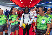HARRISON, NJ - MARCH 08: Semahj Ware, the SheBelieves Hero, stands in the tunnel during a game between Spain and USWNT at Red Bull Arena on March 08, 2020 in Harrison, New Jersey.