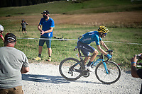 Alejandro Valverde (ESP/Movistar) at the gravel section atop the Montée du plateau des Glières (HC/1390m)<br /> <br /> Stage 18 from Méribel to La Roche-sur-Foron (175km)<br /> <br /> 107th Tour de France 2020 (2.UWT)<br /> (the 'postponed edition' held in september)<br /> <br /> ©kramon