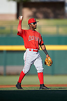 AZL Angels second baseman Kendy Moya (3) during an Arizona League game against the AZL Cubs 1 on June 24, 2019 at Sloan Park in Mesa, Arizona. AZL Cubs 1 defeated the AZL Angels 12-0. (Zachary Lucy / Four Seam Images)