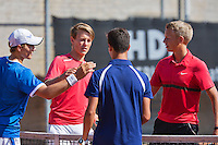 August 9, 2014, Netherlands, Rotterdam, TV Victoria, Tennis, National Junior Championships, NJK,  Final boys 16 years doubles: Winners Ruben Konings and Bart Stevens (NED) in blue and runners up Siem Fenne and Tom Moonen (NED)(R)<br /> Photo: Tennisimages/Henk Koster
