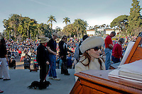 """San Diego Civic Organist Dr. Carol Williams preforms """"All Creatures Great and Small"""" as members of the San Diego Dachshund Club and their dogs  parade across the stage at the Spreckels Organ in Balboa Park, San Diego California, December 23rd, 2007."""