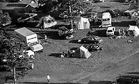 Camper, fans, 12 Hours of Sebring, IMSA Camel GT race, Sebring International Raceway, Sebring, Florida, March 24, 1984.  (Photo by Brian Cleary/www.bcpix.com)