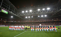 The USMNT and the Netherlands line up before the match. The USA men fell to the Netherlands 2-1 at Amsterdam ArenA, Wednesday, March 3, 2010.