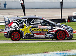 Brain Deegan (38) driver of the Rockstar Energy Metal Mulisha car, in action during the Global Rally Cross race, the Hoon Kaboom, at Texas Motor Speedway in Fort Worth,Texas. Global Rally Cross driver Marcos Gronholm (3) wins the Hoon Kaboom race..