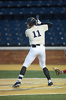 Shane Muntz (11) of the Wake Forest Demon Deacons at bat against the Liberty Flames at David F. Couch Ballpark on April 25, 2018 in  Winston-Salem, North Carolina.  The Demon Deacons defeated the Flames 8-7.  (Brian Westerholt/Four Seam Images)