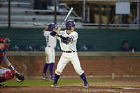 Daniel Walsh (19) of the Western Carolina Catamounts at bat against the St. John's Red Storm at Childress Field on March 13, 2021 in Cullowhee, North Carolina. (Brian Westerholt/Four Seam Images)