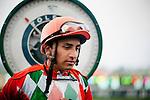 Jockey, Rafael Bejarano weighs out after a race at Santa Anita Park in Arcadia California on February 11, 2012.