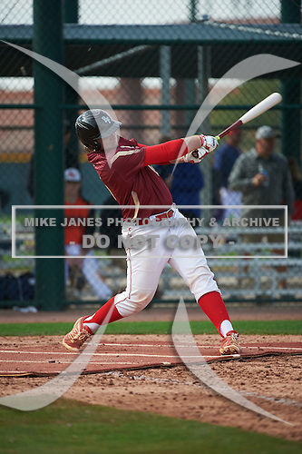 Jake Nemith (15) of Pace High School in Pace, Florida during the Under Armour All-American Pre-Season Tournament presented by Baseball Factory on January 14, 2017 at Sloan Park in Mesa, Arizona.  (Art Foxall/Mike Janes Photography)