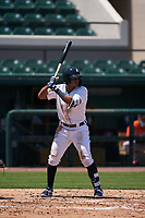 Detroit Tigers Wenceel Perez (80) bats during a Minor League Spring Training game against the Baltimore Orioles on April 14, 2021 at Joker Marchant Stadium in Lakeland, Florida.  (Mike Janes/Four Seam Images)