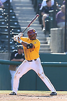 Timmy Robinson #28 of the USC Trojans bats against the Northwestern Wildcats at Dedeaux Field on  February 16, 2014 in Los Angeles, California. USC defeated Northwestern, 13-6. (Larry Goren/Four Seam Images)