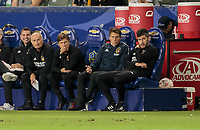 CARSON, CA - SEPTEMBER 21: Guillermo Barros Schelotto head coach of the Los Angeles Galaxy and his ben h during a game between Montreal Impact and Los Angeles Galaxy at Dignity Health Sports Park on September 21, 2019 in Carson, California.