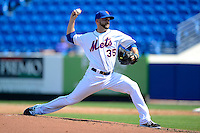 New York Mets pitcher Dillon Gee #35 delivers a pitch during an exhibition game against the Michigan Wolverines at Tradition Field on February 24, 2013 in Port St Lucie, Florida.  New York defeated Michigan 5-2.  (Mike Janes/Four Seam Images)