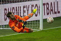9th January 2021; Turf Moor, Burnley, Lanchashire, England; English FA Cup Football, Burnley versus Milton Keynes Dons; Will Norris of Burnley saves in the penalty shoot out
