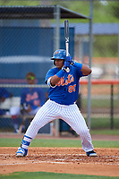 GCL Mets first baseman Wilfred Astudillo (80) at bat during a game against the GCL Marlins on August 3, 2018 at St. Lucie Sports Complex in Port St. Lucie, Florida.  GCL Mets defeated GCL Marlins 3-2.  (Mike Janes/Four Seam Images)