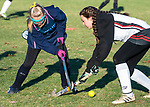 LITCHFIELD, CT-111820JS13—Shepaug's Brianna Laskowski (41) clears the ball past Wamogo's Diana Squires (8)  during their field hockey game Wednesday at Wamogo High School. <br />  Jim Shannon Republican-American