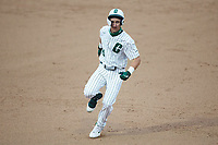 Hunter Baker (45) of the Charlotte 49ers hustles towards third base against the Appalachian State Mountaineers at Atrium Health Ballpark on March 23, 2021 in Kannapolis, North Carolina. (Brian Westerholt/Four Seam Images)