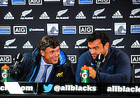 Pumas coach Daniel Hourcade (left) and captain Agustin Creevy during the post-match press conference after The Rugby Championship match between the NZ All Blacks and Argentina Pumas at FMG Stadium in Hamilton, New Zealand on Saturday, 10 September 2016. Photo: Dave Lintott / lintottphoto.co.nz
