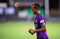 LAKE BUENA VISTA, FL - JULY 14: Nani #17 of Orlando City SC headed to the corner during a game between Orlando City SC and New York City FC at Wide World of Sports on July 14, 2020 in Lake Buena Vista, Florida.