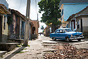 27/07/18<br /> <br /> Typical street scene with American car, Trinidad, Cuba.<br /> <br /> All Rights Reserved, F Stop Press Ltd. (0)1335 344240 +44 (0)7765 242650  www.fstoppress.com rod@fstoppress.com