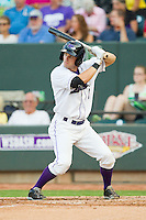 Adam Heisler (2) of the Winston-Salem Dash at bat against the Carolina Mudcats at BB&T Ballpark on July 25, 2013 in Winston-Salem, North Carolina.  The Mudcats defeated the Dash 5-4.  (Brian Westerholt/Four Seam Images)