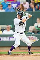 Adam Heisler (2) of the Winston-Salem Dash at bat against the Carolina Mudcats at BB&T Ballpark on July 25, 2013 in Winston-Salem, North Carolina.  The Mudcats defeated the Dash 5-4.  (Brian Westerholt/Four Seam Images)