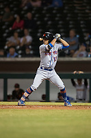 Scottsdale Scorpions shortstop Andres Gimenez (13), of the New York Mets organization, at bat during an Arizona Fall League game against the Mesa Solar Sox at Sloan Park on October 10, 2018 in Mesa, Arizona. Scottsdale defeated Mesa 10-3. (Zachary Lucy/Four Seam Images)