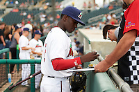 Fort Myers Miracle shortstop Nick Gordon (2) signs autographs before a game against the Brevard County Manatees on April 13, 2016 at Hammond Stadium in Fort Myers, Florida.  Fort Myers defeated Brevard County 3-0.  (Mike Janes/Four Seam Images)