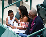 April 5,2017:   Richard Williams, wife Lakeisha, and young son watch as Venus Williams (USA) loses to Laura Siegemund (GER) 6-4, 6-7, 7-5, at the Volvo Car Open being played at Family Circle Tennis Center in Charleston, South Carolina.  ©Leslie Billman/Tennisclix/Cal Sport Media
