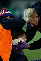 Noah Heward of London Scottish received medical attention during the Greene King IPA Championship match between London Scottish Football Club and Nottingham Rugby at Richmond Athletic Ground, Richmond, United Kingdom on 7 February 2020. Photo by Carlton Myrie.