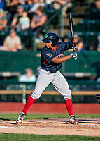 24 August 2019: Lowell Spinners catcher Jonathan Diaz in action against the Vermont Lake Monsters at Centennial Field in Burlington, Vermont. The Spinners rallied in the 9th inning to overcome a 2-1 deficit and defeat the Lake Monsters 3-2 in NY Penn League play. Mandatory Credit: Ed Wolfstein Photo *** RAW (NEF) Image File Available ***