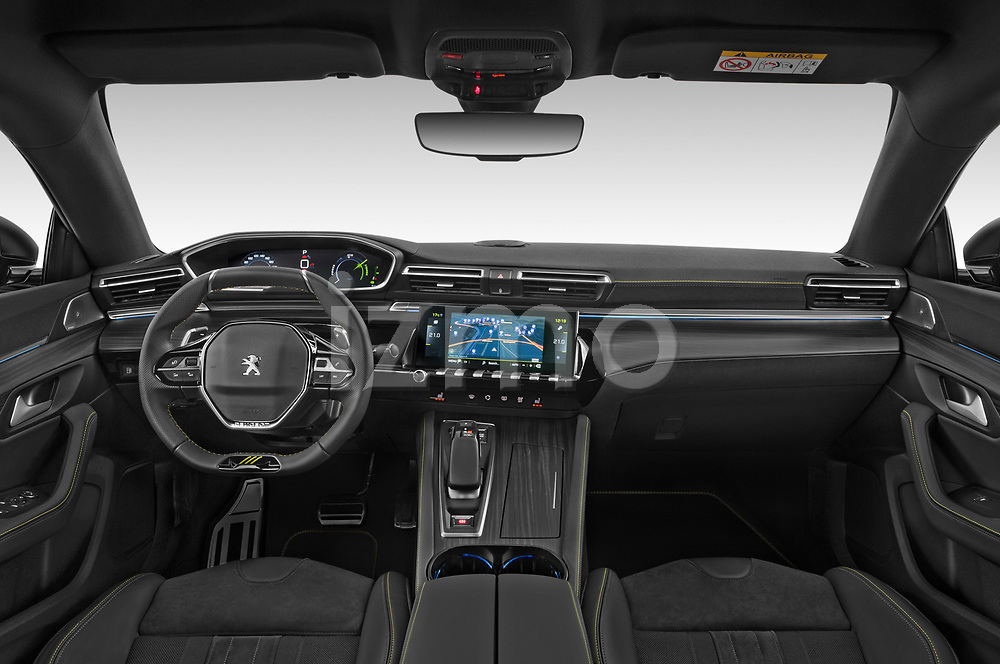 Stock photo of straight dashboard view of 2021 Peugeot 508-SW PSE-PHEV 5 Door Wagon Dashboard