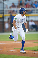 Boo Vasquez (17) of the Burlington Royals hustles down the first base line against the Kingsport Mets at Burlington Athletic Stadium on July 18, 2016 in Burlington, North Carolina.  The Royals defeated the Mets 8-2.  (Brian Westerholt/Four Seam Images)