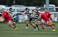 Peter Lydon of Ealing Trailfinders is tackled by Antonio 'TJ' Harris of Jersey Reds during the Championship Cup Quarter final match between Ealing Trailfinders and Jersey Reds at Castle Bar , West Ealing , England  on 22 February 2020. Photo by Alan  Stanford / PRiME Media Images.