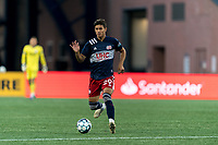 FOXBOROUGH, MA - AUGUST 21: Nicolas Firmino #29 of New England Revolution II passes the ball during a game between Richmond Kickers and New England Revolution II at Gillette Stadium on August 21, 2020 in Foxborough, Massachusetts.